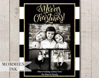 Black and White Stripe Christmas Card, 3 Photo Holiday Card, Photo Christmas Card, Gold Foil Card, Rugby Stripe Card, Modern Christmas Card