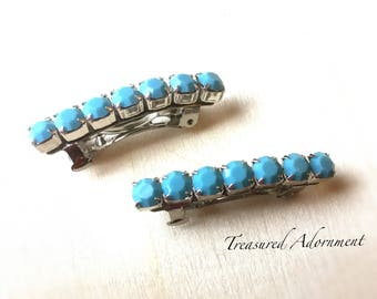 Turquoise Preciosa Rhinestone Barrettes, set of 2, Tiny Barrettes, children, baby, wedding, flower girl, Turquoise Hair Clip, Holiday Hair