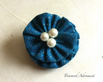 Fabric Flower Hair Clip, Teal and Gold Print, white pearls, Autumn Hair clip, Fall Hair clip, fabric hair clip accessory