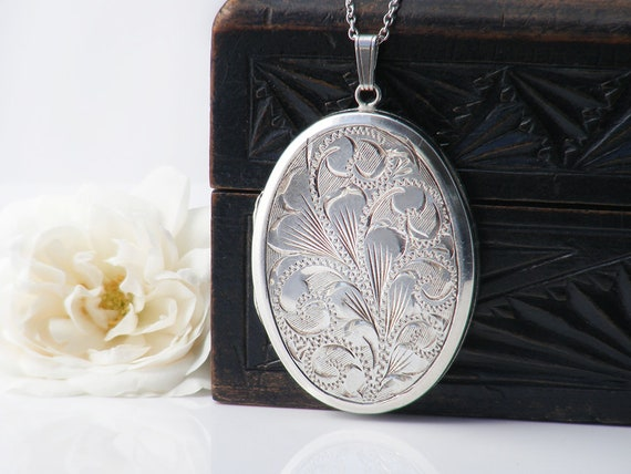 Sterling Silver Vintage Locket Necklace | Large Engraved Oval Locket | 1970s English JAM Silver - 30 Inch Long Sterling Chain
