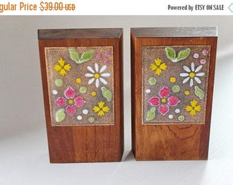 ON SALE Ernest Sohn Bookends. Walnut Wood with Enamel on Copper Plaques or Plates. Floral Design.