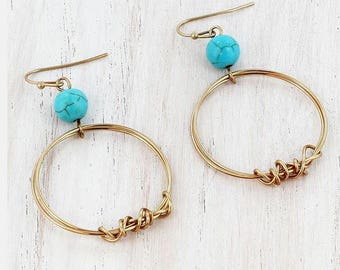 Gold Hooo Earrings with Turquoise Stone