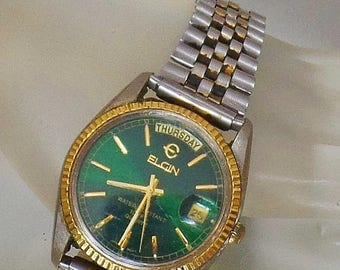 SALE Vintage Elgin Homage Datejust Men's Watch. Rare Elgin Green Face Silver and Gold Men's Watch.