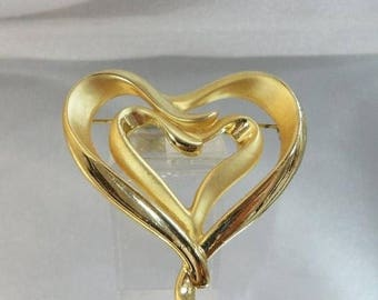 SALE Vintage Gold Open Heart Brooch. AJC. Brushed & Shiny Gold Tone Heart Pin. Abstract.