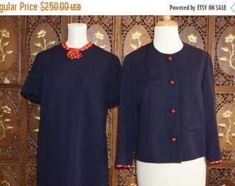 ON SALE 1960s Mountain Home Navy Knit 2 pc Ensemble with Red & White Polka Dot Trim