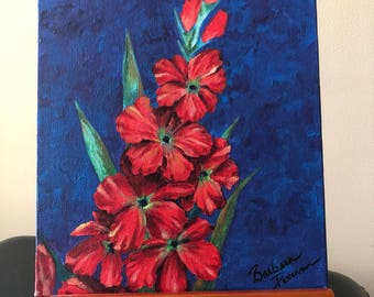 Red Flowers on Blue