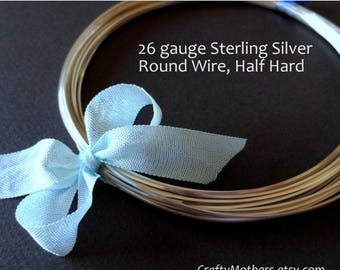 7% off SHOP SALE 26 gauge Sterling Silver Wire, Round, Half HARD, solid .925 sterling, precious metal - Select a Length
