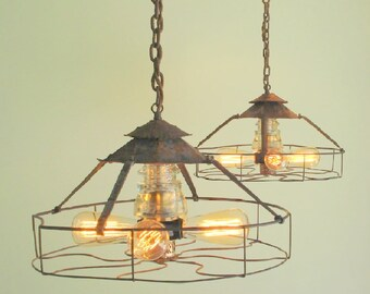 Rare PAIR Industrial Vintage LIGHT Shown with Emblem & Vintage Glass Insulator Flush Mount Ceiling Lighting shown with Edison Bulb LampGoods