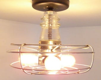 Flush Mount CEILING LIGHT Rustic Industrial Lighting Repurposed Kitchen Shown with Edison Filament Bulbs & Glass Insulator by LampGoods