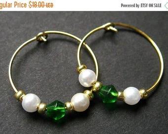 SUMMER SALE Handmade Hoop Earrings - Classic Beauty in Green. Handmade Earrings.