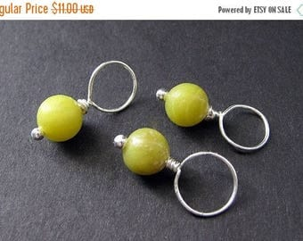 SUMMER SALE Jade Stitch Markers in Green Jade and Silver - 10mm Size. Handmade Stitch Markers by Gilliauna