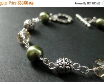 BACK to SCHOOL SALE Beaded Bracelet in Olive Green Pearls, Taupe Crystals and Silver. Woodland Bracelet. Handmade Jewellery.