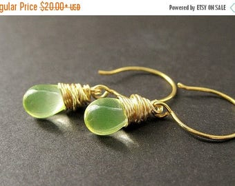 BACK to SCHOOL SALE Wire Wrapped Earrings: Teardrop Earrings in Lemon Lime and Gold. Handmade Jewelry.