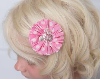pink polka dot hair clip, minnie mouse flower clip, girl hair clip, baby hair clip, baby shower gift, toddler hair clip, flower girl hair
