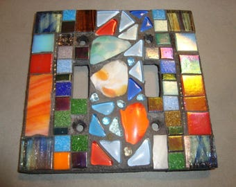 MOSAIC LIGHT SWITCH Cover - Wall Plate, Wall Art, Home Decor, Multicolored, Art Glass, Stained Glass