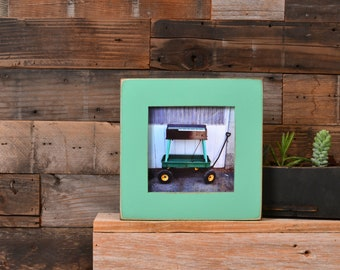 "5x5"" Picture Frame in 1.5 Standard Style  with Vintage Robin's Egg Finish - IN STOCK - Same Day Shipping - 5 x 5 Gift Frame Green"