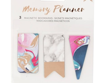 Marble Crush Memory Planner Magnetic Bookmarks 3/Pkg American Crafts (341217)