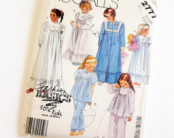 Vintage 1980s Girls Size 4-6 Robe Nightgown Pajamas Bootees Appliques Bag McCalls 2777 Sewing Pattern FF Prairie Girl Style / b23-25""
