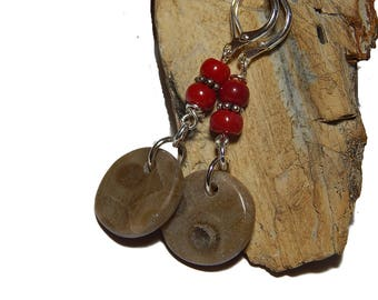 Hand crafted Petoskey Stone earrings, Red Coral, Lake Michigan Silver Plated leverback  Summertime in Northern Michigan ancient fossil