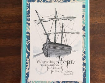 Hope as an Anchor Art Print Handmade Greeting Card Lighthouse