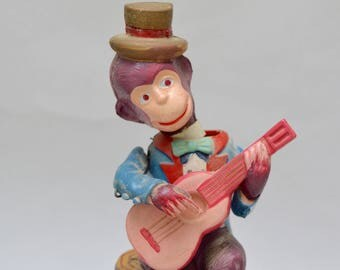 Vintage Occupied Japan Tin & Celluloid Wind-up Guitar Playing Monkey Toy