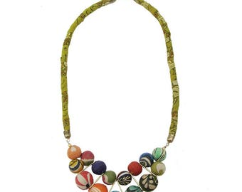 Most Charming Kantha BEADED BIB NECKLACE