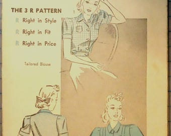 Advance 5013 - Sewing Pattern - 1930s Ladies Tailored Blouses In Two Styles