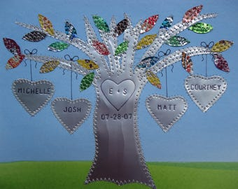 10 Year Anniversary Tin Anniversary Gift Wedding Gift Hearts Family Tree Engraved Dates and Names Stamped