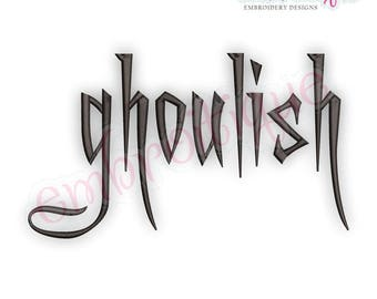 "Ghoulish Halloween Monogram Font, Aa-Zz  0-9, 1"", 1.5"", 2"", 2.5"", 3"" - BX Files included- Instant Download Machine embroidery design"