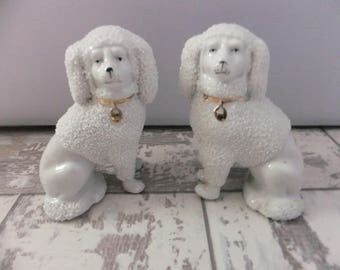 Antique Porcelain Staffordshire Confetti Poodle Dog Figurines Matching Pair White and Gold Dogs Germany