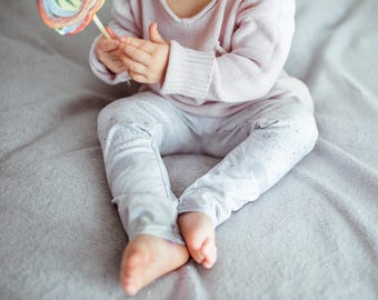 White Marble Baby Leggings