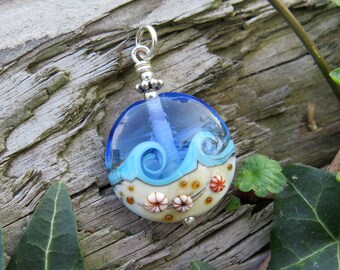 """Pendant """"BEACH-FANTASY V"""" - hand-crafted lampwork bead, sterling silver - one of a kind!"""