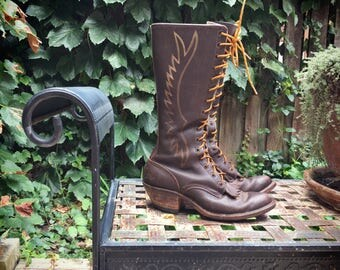 Vintage bench made tall lace up Packer boots Women's Size 7 brown leather flame stitching