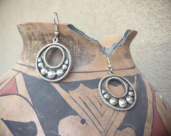 Vintage Mexican Jewelry Sterling Silver Hoop Earrings, Taxco Silver Earrings