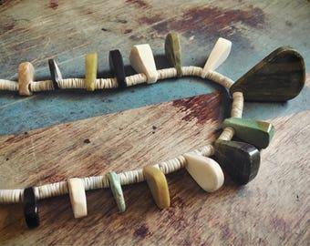 Turquoise Necklace Native America Jewelry, Santo Domingo Pueblo Turquoise Serpentine Jewelry