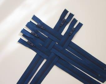 """Twelve 8"""" Blue Nylon Zippers YKK"""