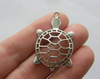 6 Tortoise charms  antique silver tone FF381