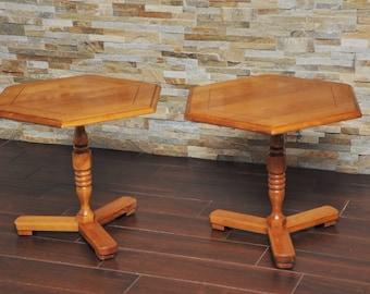 SALE! PAIR Cushman Colonial End Tables- Cushman Colonial Creations antique Hexagon Low End Tables