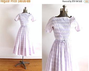 ON SALE 1950s Dress / 50s Dress / 50s Lilac Purple Eyelet Full Skirt Dress