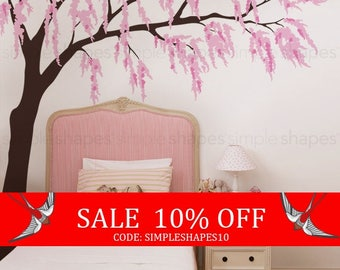 Summer Sale - Weeping Willow Tree Decal with Cherry Blossoms, Baby Girls Nursery Wall Decal, Willow Tree Wall Decal, Nursery Decoration