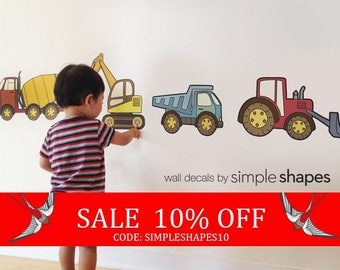 Summer Sale - Construction Vehicle - Peel and Stick Repositionable Stickers
