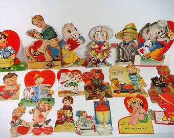 18 Mechanical Valentine Lot 1930's & 1940's Valentine Lot Moving Parts Collectible Valentines