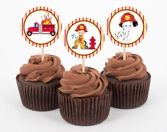 Fireman Cupcake Toppers, Birthday Cupcake Toppers, Firefighter Birthday Decorations, Cupcake Toppers, Fireman Party, Instant Download