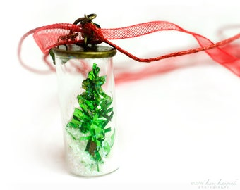 New! Christmas Tree Necklace, Holiday jewelry, Christmas in a bottle necklace, holiday gift, Christmas treat  stocking stuffer green & red