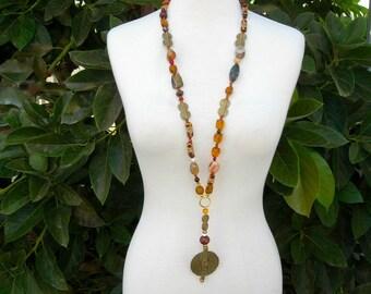 LONG African Necklace, Lost Wax Brass Pendant & 5 Spiral Brass Pieces, Beads: Wood/Carnelian/Jasper/Agate/Glass/Trade Beads, SandraDesigns