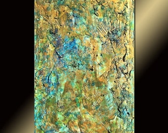 Original Abstract Painting,Rich Textured Metallic Contemporary Canvas Art Interior Design by Henry Parsinia large
