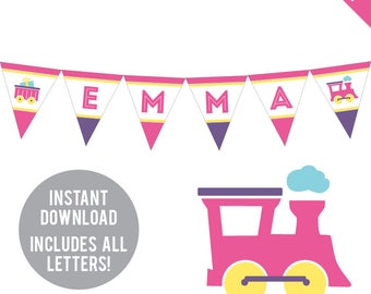 INSTANT DOWNLOAD Pink Train Party - DIY printable pennant banner - Includes all letters, plus ages 1-18