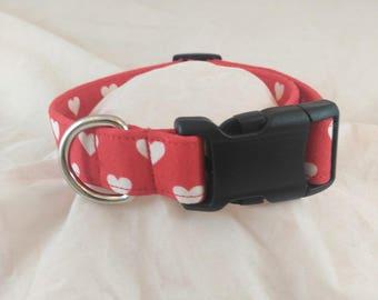 Red Heart Collar, Valentines Dog Collar, Breakaway Cat Collar,Les Fleurs Dog Collar,Collier de chien,collar de perro