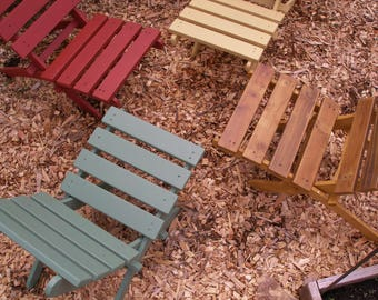 Four Great Outdoor Chairs!  SPECIAL PRICE Set of 4 Comfy, Storable Cedar Chairs - Outdoor Furniture - Firepit Chair - 12 Colors to Choose!