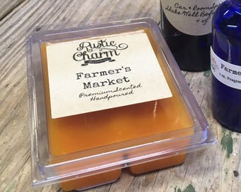 Farmer's Market Hand made Fruit Blend Candle Wax Melts Breakaway Clamshell Tarts by Rustic Charm